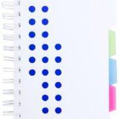 Spirálový blok s plastovými deskami s 115 listy a barevnými rozdělovači stránek.