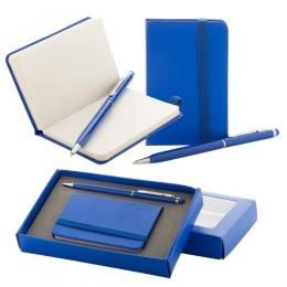 Sada s mini blokem s papírovými deskami a 80ti listy a hliníkovým kuličkovým a dotykovým perem. V dárkové krabičce.
