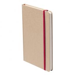 Blok s deskami z lepenky, se 100 listy, barevnou záložkou a gumičkou.