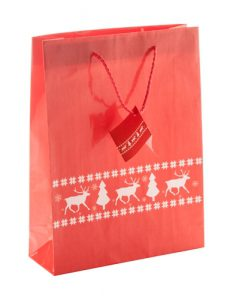 Středně velká - Papírová dárková taška s vánočním designem a visačkou