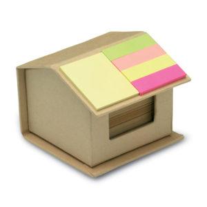 Sada 300 stránkového poznámkového bloku z recyklovaného papíru a samolepících bločků v krabičce ve tvaru domu.
