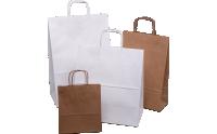 Bílé a hnědé papírové tašky s kroucenou rukojetí