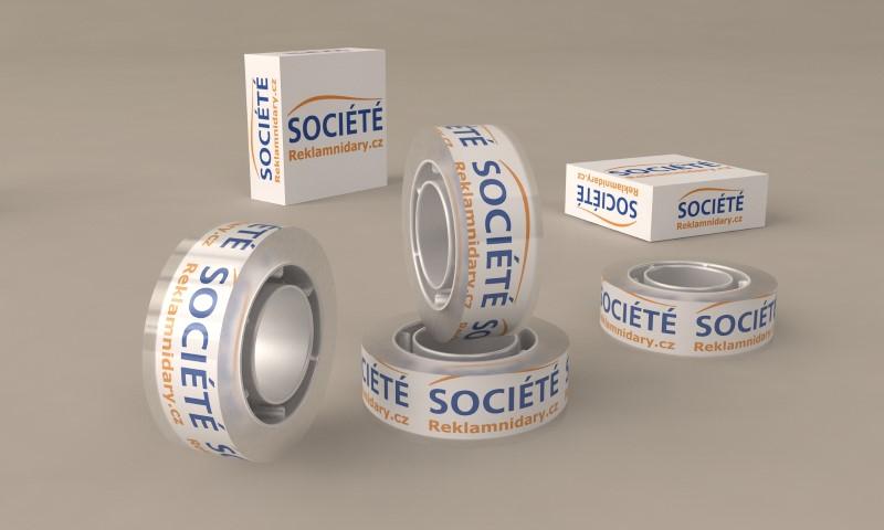 Lepící páska s potiskem v papírové krabičce