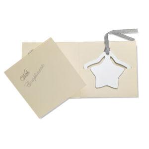 Vánoční pohlednice s kovovou záložkou ve tvaru hvězdy